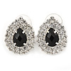 Statement Clear/ Black Jewelled Teardrop Stud Earrings In Silver Tone - 27mm L