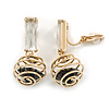 Gold Tone Wire Ball with Black Crystal Clip On Earrings - 35mm L