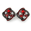 Marcasite Square Red Crystal, White Peal Clip On Earrings In Antique Silver Tone - 20mm L
