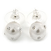 9mm White Faux Pearl with Clear Crystal Stud Earrings In Silver Tone