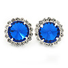 Sapphire Blue/ Clear Jewelled Round Clip On Earrings In Silver Tone - 20mm D
