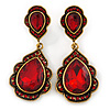 Vintage Inspired Ruby Red Glass Crystal Bead Teardrop Earrings In Antique Gold Tone - 50mm L