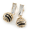 Gold Tone Wire Ball with Black Crystal Drop Earrings - 35mm L