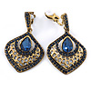 Vintage Inspired Montana Blue Crystal Teardrop Clip On Earrings In Antique Gold Tone - 40mm L
