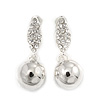 Silver Plated Clear Crystal Ball Drop Earrings - 35mm L