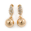 Gold Plated Clear Crystal Ball Drop Earrings - 35mm L