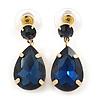 Midnight Blue Acrylic Teardrop Earrings In Gold Tone - 30mm L