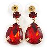 Red Acrylic Teardrop Earrings In Gold Tone - 30mm L