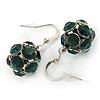 Emerald Green Crystal Ball Drop Earrings In Silver Tone - 30mm L
