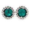 Emerald Green/ Clear Round Cut Acrylic Bead Stud Earrings In Silver Tone - 20mm D