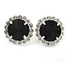 Jet Black/ Clear Round Cut Acrylic Bead Stud Earrings In Silver Tone - 20mm D