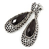 Antique Silver, Hematite Crystal, Black Acrylic Stone Teardrop Earrings - 50mm L
