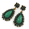 Apple Green Resin Stone, Dark Green Crystal Teardrop Earrings In Gold Tone - 45mm L