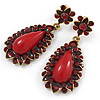 Wine Red Resin Stone, Dark Red Crystal Teardrop Earrings In Gold Tone - 45mm L