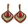 Vintage Inspired Burgundy Red Crystal, Filigree Teardrop Earrings In Antique Gold Tone - 45mm L