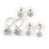 3 Pairs of Crystal Ball Drop and Stud Earring Set In Silver Tone- 10mm, 8mm, 6mm