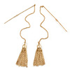 Gold Plated Tassel with Long Chain Drop Earrings - 12cm L