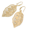 Brushed Gold Tone Leaf Earrings - 68mm L