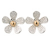 Two Tone Textured Daisy Stud Earrings - 25mm D