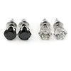 5mm Set of 2 Clear and Black Cz Round Cut Stud Earrings In Rhodium Plating