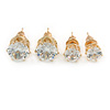 7mm, 5mm Set of 2 Clear Cz Round Cut Stud Earrings In Gold Plating