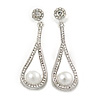 Clear Crystal White Glass Pearl Teardrop Earrings In Silver Tone Metal - 55mm L