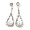 Clear Crystal White Glass Pearl Teardrop Earrings In Silver Tone Metal - 55mm L