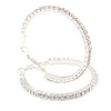 45mm Medium Clear Crystal Hoop Earrings In Silver Tone Metal