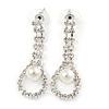 Bridal/ Prom/ Wedding Clear Crystal Pearl Teardop Earrings In Silver Plating - 40mm L