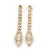 Long Clear Crystal Teardrop Earrings In Gold Plating - 60mm L