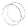 63mm Large Clear Austrian Crystal Hoop Earrings In Silver Tone Metal