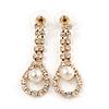 Bridal/ Prom/ Wedding Clear Crystal Pearl Teardop Earrings In Gold Plating - 40mm L