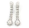 Clear Crystal, Pearl Style Bead Teardrop Clip On Earrings In Silver Tone - 45mm L