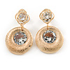 Gold Tone Textured Clear Cz Disk Drop Earrings - 30mm L