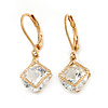 Small Round Cut Cz Drop Earrings In Gold Plating with Leverback Closure - 25mm L