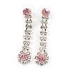 Long Teardrop Clear/ Pink Crystal Drop Earrings In Silver Tone - 45mm L