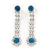 Long Teardrop Clear/ Teal Blue Crystal Drop Earrings In Silver Tone - 45mm L