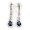 Bridal/ Prom/ Wedding Clear/ Midnight Blue Crystal Teardrop Earrings In Silver Tone Metal - 40mm L