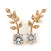 Clear Crystal Leaf Stud Earrings In Gold Plating - 30mm L