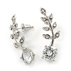 Clear Crystal Leaf Stud Earrings In Silver Plating - 30mm L