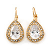 Classic Cz Teardrop Earrings With Leverback Closure In Gold Plating - 27mm L