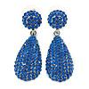 Bridal, Prom, Wedding Pave Sapphire Blue Austrian Crystal Teardrop Earrings In Rhodium Plating - 48mm L