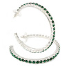 Large Emerald Green Austrian Crystal Hoop Earrings In Rhodium Plating - 6cm D