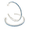 Large Sky Blue Austrian Crystal Hoop Earrings In Rhodium Plating - 6cm D