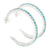 Large Light Blue Austrian Crystal Hoop Earrings In Rhodium Plating - 6cm D