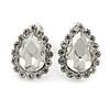 Small Teardrop Clear Stud Earrings In Silver Tone - 13mm