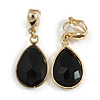 Gold Tone Teardrop Black Faceted Glass Stone Clip On Drop Earrings - 35mm L