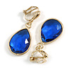 Gold Tone Teardrop Sapphire Blue Faceted Glass Stone Clip On Drop Earrings - 35mm L