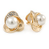 Gold Plated, Crystal, Faux Glass Pearl 3 Petal Flower Clip On Earrings - 20mm