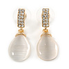Gold Tone Clear Crystal Nude Cat Eye Stone Teardrop Earrings - 35mm L